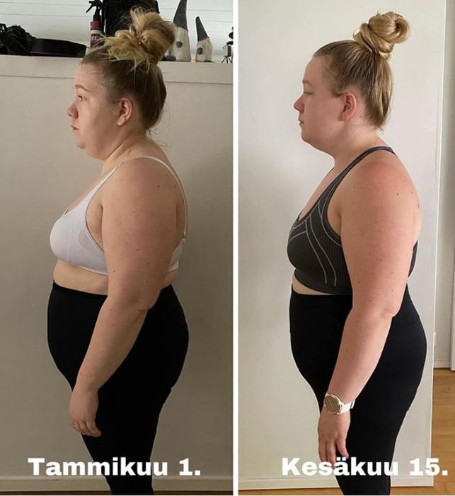 Kuvien välillä on -13.9 pudotettua kiloa, virkeämpi ja reippaampi äiti